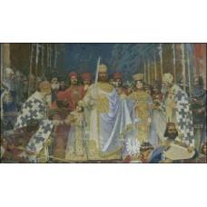 NG425 Krunisanje Cara Dušana (detalj slike Paje Jovanovića) 1:1 (58x34cm)